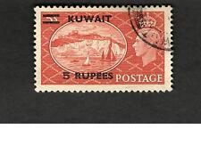 Kuwait SC #100 KING GEORGE Sailing Ships w/overprint Θ used stamp