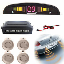 Car Parking Reverse 4 Sensor With LED Display Kit Backup Radar System Pearl White