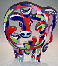 Signed David Gerstein Cow Sculpture Laser Cut Aluminum Double-Sided Freestanding