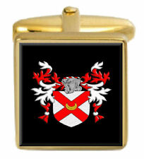 Yale England Family Crest Surname Coat Of Arms Gold Cufflinks Engraved Box