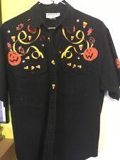 Halloween Black Shirt Blouse Women's Ladies Pumpkins Decorative - Size Med (B2)