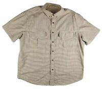 Woolrich Men's Thick Cotton Flannel Short Sleeve Button Down Shirt Sz 2XL / XXL