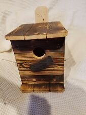 SCREECH.OWL.1 Nesting Box.House.BY M.E HOLLEY.FIRE HARDENED/BUILT BY U.S.A. VET