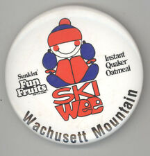 1980s WACHUSETT MOUNTAIN Skiing SKI AREA Skiers MASSACHUSETTS Pin BUTTON Badge