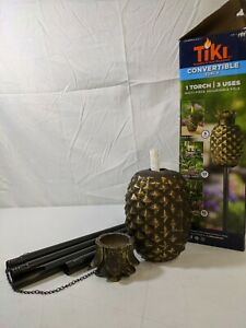 TIKI Brand Bronze Pineapple Torch Glass Broken Pole & Broken Top New w/ DEFECTS