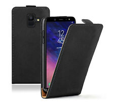 SLIM BLACK Leather Samsung Galaxy A6 2018 (+2 FILMS) Flip Case Cover Pouch