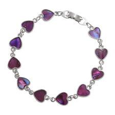 Tide Jewellery Inlaid Abalone Paua Shell Pink Hearts Bracelet - Boxed