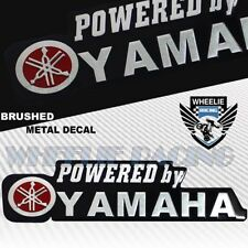 "METAL 5.25"" 3D YAMAHA BRUSHED ALUMINUM FENDER EMBLEM STICKER LOGO+LETTER DECAL"