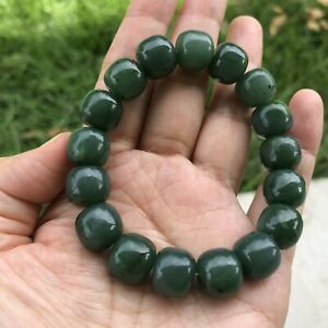 12x11mm Authentic Genuine Russian Siberian Nephrite Jade bead Bracelet E301
