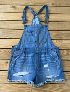 abercrombie & fitch women's Distressed denim overall shorts size S blue N3