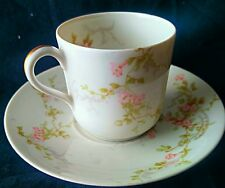 VERY RARE* THEODORE HAVILAND LIMOGES DEMITASSE CUP & SAUCER PINK BLUE FLORAL
