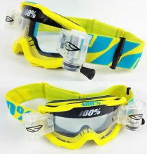 2015 100% PERCENT ACCURI MOTOCROSS GOGGLES FIJI with SMITH ROLL OFFS TVS enduro