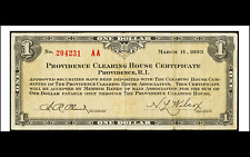 Providence, RI- Providence Clearing House Certificate $1 Mar. 8, 1933
