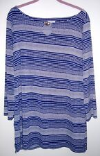 Jacklyn Smith XL KNIT TOP 3/4 SLEEVE BLUE WHITE STRIPED DOTS NEW