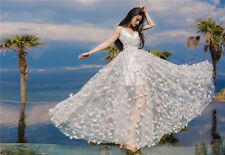 Off White Chiffon lace fabric with 3D flower wedding gown bridal dress 59'' Wide