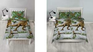 Jurassic World Jungle Single Double Quilt Duvet Cover Kids Dinosaur Bedding New