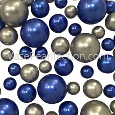 2 Pack Silver & Blue Pearls - No Hole Jumbo/Assorted Sizes Vase Decorations