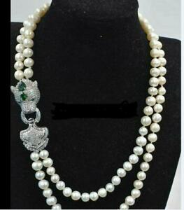 """AAA 18-21"""" 7-8 mm  stouth sea round white  pearl necklace 925 Clasp"""