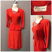 Vintage Mahogany Red Orange Rust Peplum  Dress UK 8 EUR 36 US 4