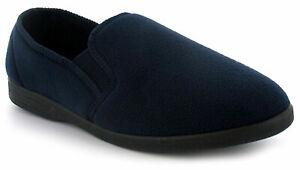 New Mens/Gents Navy Fleece Upper Twin Gusset Fleece Slippers. UK Size