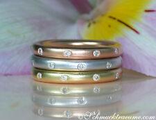 Edel: 3 Brillanten Ringe im Sternenhimmel Design 0.46 ct W-SI RG/GG/WG-750 6270€