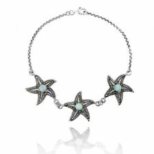 Sterling Silver Marcasite and Larimar Triple Starfish Bracelet