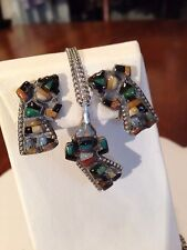 Early 1920/30's Zuni Sterling Rainbow Man Stone to Stone Necklace/Earring Set