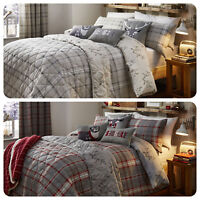 Dreams & Drapes LUDLOW Stag Bedding Tartan Check Duvet Cover Set 100% Cotton