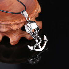 Retro Punk Skull Anchor Stainless Steel Pendant Necklace for Men Jewelry Women