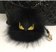 US Seller HUGE Black Monster Keychain Fur Pom Pom Ball Key Ring Bag Fur Monster
