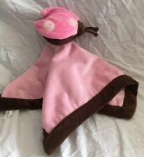Tiddliwinks Pink Brown Ladybug Security Blanket Lovey Plush Baby
