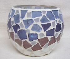 Home Interiors Blues & Purple Mosaic Candle Holder Used Without Box