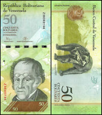 Venezuela 50 Bolivares 2015 Uncirculated World Currency Banknote Money Cash