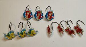 Vintage Disney Little Mermaid Ariel Sebastion Flounder Shower Hooks Set Of 10