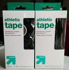 """Up & Up Target Brand Black Athletic Tape 1.5"""" x 10 Yd - 2 Rolls / Pk - Lot Of 2"""