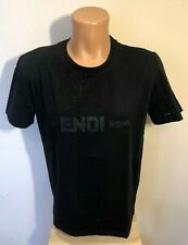 FENDI Black Men T shirt Size L Eyes Mouth