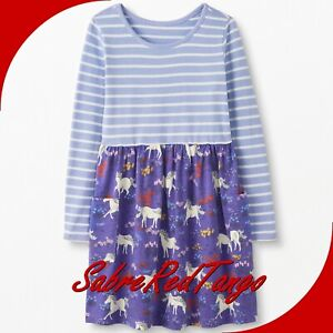 NWT HANNA ANDERSSON MIXIE PLAYDRESS DRESS POSITIVELY PURPLE UNICORN 90 3T 3