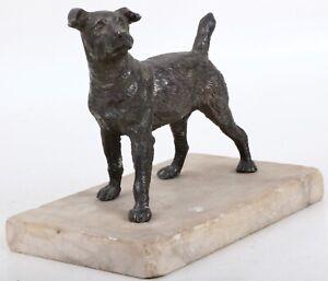 Alte Skulptur Zinkguss Hund Art Déko auf Marmorsockel um 1930