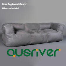Stylish Living Room Couch 3-Seater Luxury Bean Bag Cover Grey Modern BB3PGRY