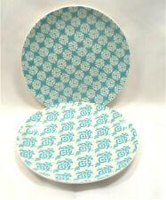 Mainstays Print Teal Coupe Salad Plates x2 Geometric Print