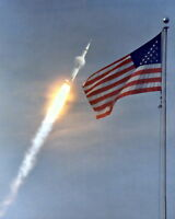 New 8x10 NASA Photo: Apollo 11 Lunar Landing Mission Launch over American Flag