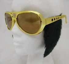 Rock n Roll Fancy Dress Glasses & Sideburns Rockstar King Elvis Gold New