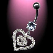 Titan  Bauchnabelpiercing Piercing Navel Herzen klare Kristalle Heart 925 Silber