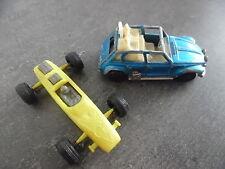 Lot de 2 miniatures: Citroen 2cv majorette et Formule 1 ecurie Roustang