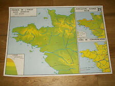 ANCIEN AFFICHE CARTE SCOLAIRE ROSSIGNOL 21 22 FRANCE de L'OUEST/BASSIN PARISIEN