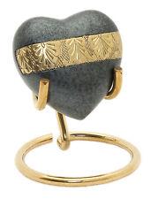 Heart Keepsake urn For Ashes Cremation Memorial Mini grey Token Urn Box & Stand
