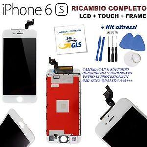 VETRO TOUCH LCD DISPLAY FRAME APPLE IPHONE 6S VETRO BIANCO + KIT PARI ORIGINALE