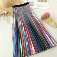 UK Women Rainbow Metal Pleated Skirt Midi Elastic Waist Swing Casual Long Dress