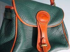 Vintage Dooney Bourke Medium Essex Carrier Green Tan AWL Leather Hand Bag Purse