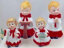 Four Vintage Ceramic Christmas Figures Homco Choir Boys & Angels Taiwan